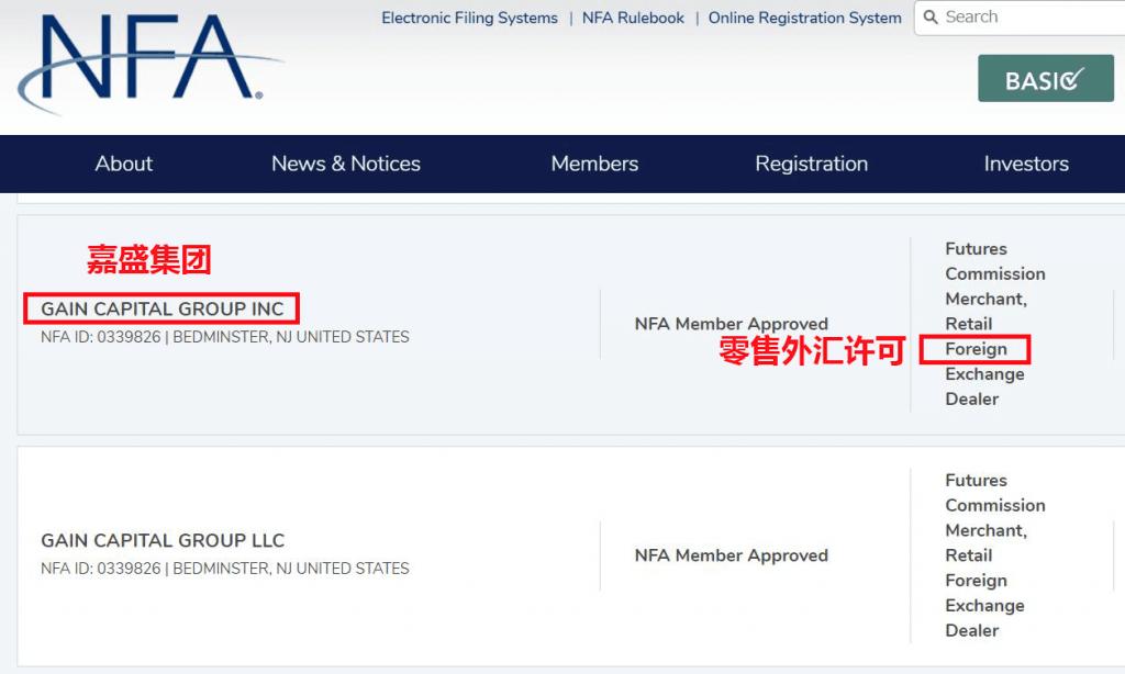 嘉盛集团美国NFA和CFTC监管牌照